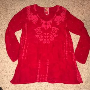 Johnny Was Red Embroidered Floral Tunic Top M
